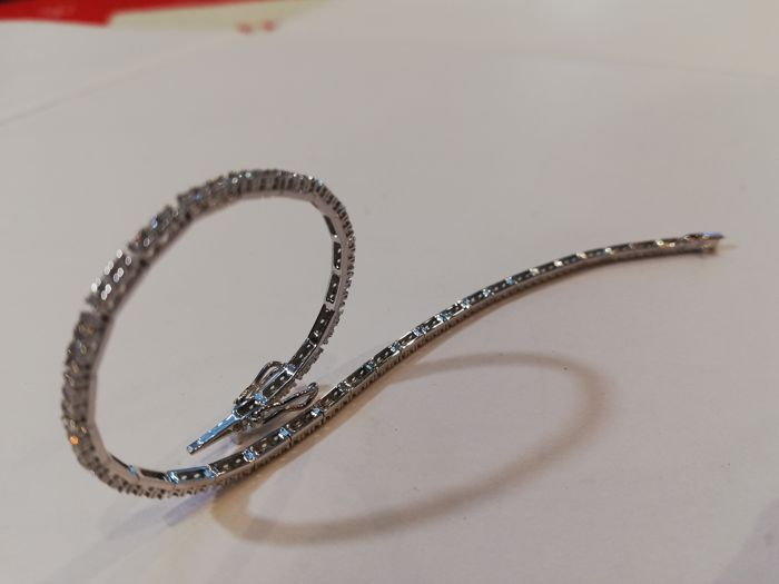 18 quilates Oro blanco - Brazalete Diamante