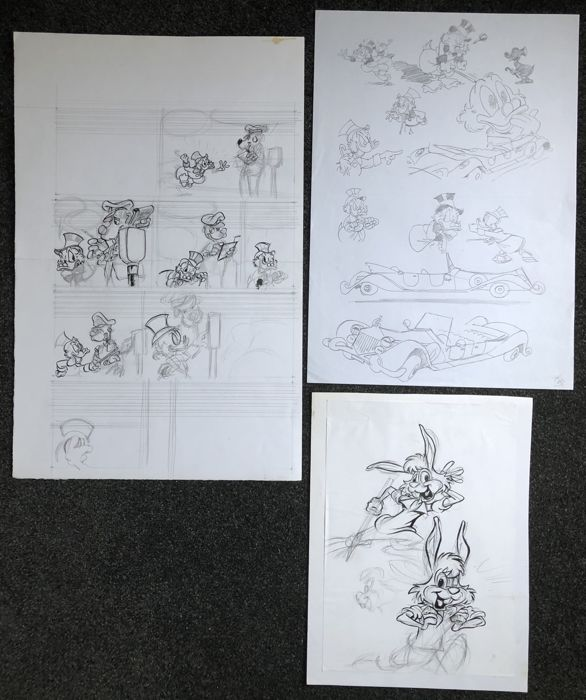 John Bakker  - 3 Originele tekeningen - Dagobert Duck - Broer Konijn - original drawings in ink and pencil