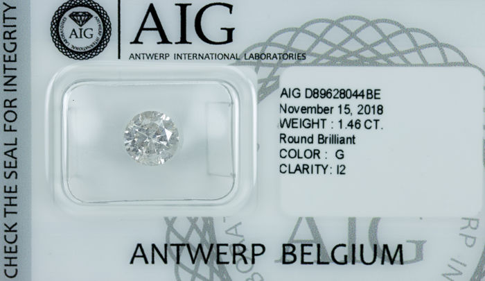 Diamant - 1.46 ct - Briljant - G - I2 *NO RESERVE*