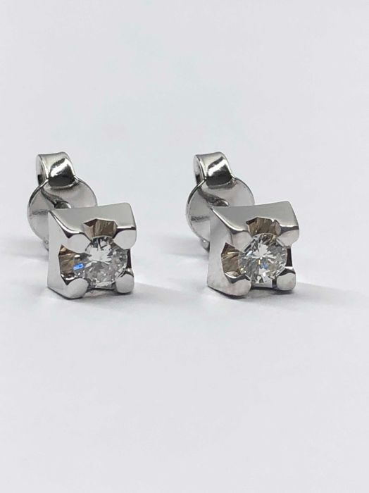 18 kt. White gold - Earrings - 0.30 ct