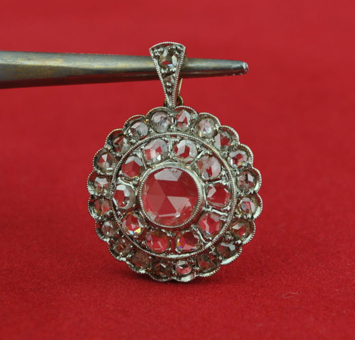 Antique 19th Century - 18 kt. Gold - Pendant Diamond