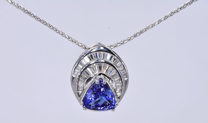Or blanc - Collier - 2.83 ct Tanzanite - Diamant