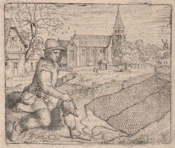 Marcus Gheeraerts (1520-1590) - Voghelare ende Partrijse - Rare first edition of this etching