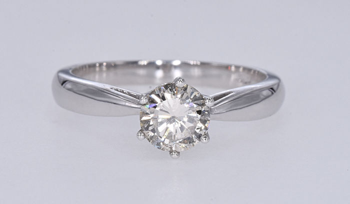 18 carats Or blanc - Bague - 0.83 ct Diamant