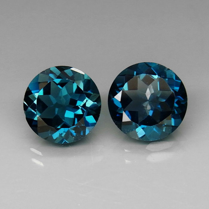 * GEEN RESERVE * London Blue Topaz-paar - 7.63 ct