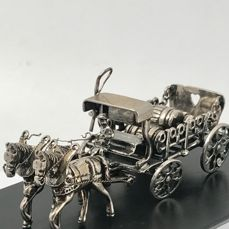 Large, heavy Dutch silver Minature Beer Car - Silver