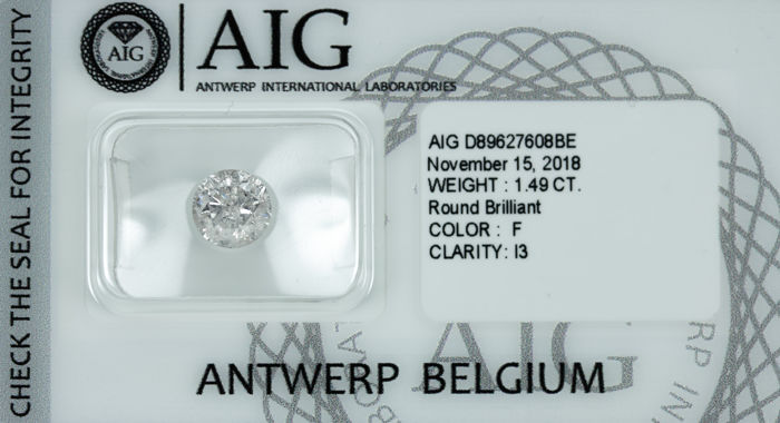 Diamant - 1.49 ct - Briljant - F - I3 *NO RESERVE*