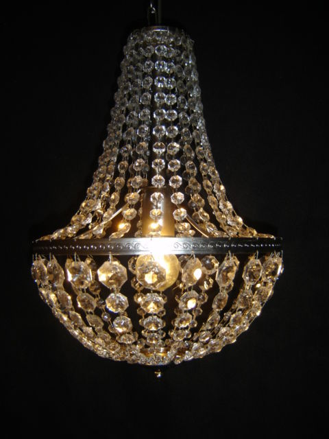Pocket chandelier metal-colored with glass crystals. - Metal / Glass crystal