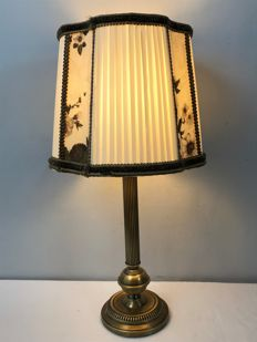 Table lamp, with fluted shaft - bronze / brass