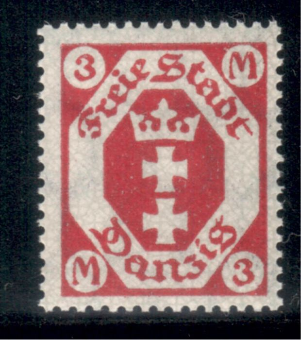 "Danzig 1922 - 3 m ""carmine-red"" - Michel 104 b"