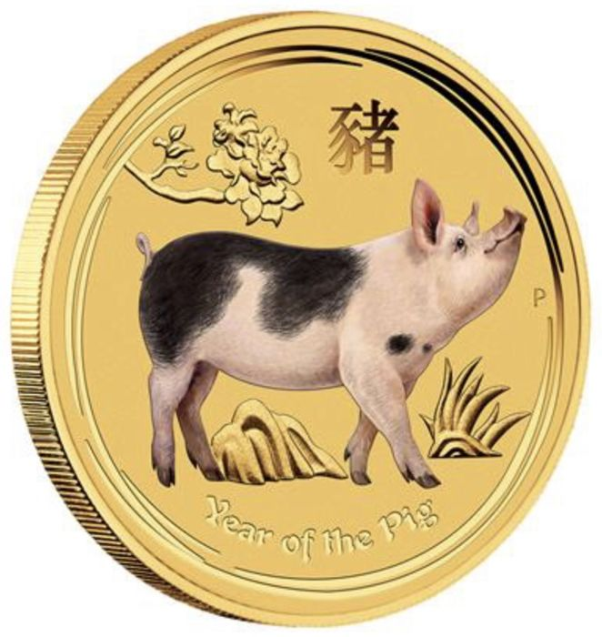 Australie - 5 Dollars 2019 - Year of the Pig Color - 1/20 oz - Or
