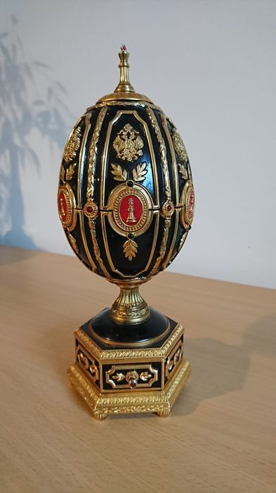 House of Faberge Franklin Mint - Imperial Egg-schaakbord - Real Ruby - Stone - E-mail, Verguld, Verzilverd