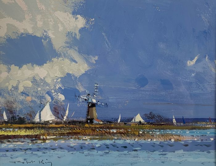 Roger King (20th century) - Coastal scene with sailboats and a windmil
