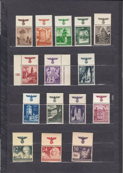 Generalgouvernement 1939/1944 - Series of stamps and occasional stamps - Michel Mi 1-13, 40-58, 92-100, 117-124