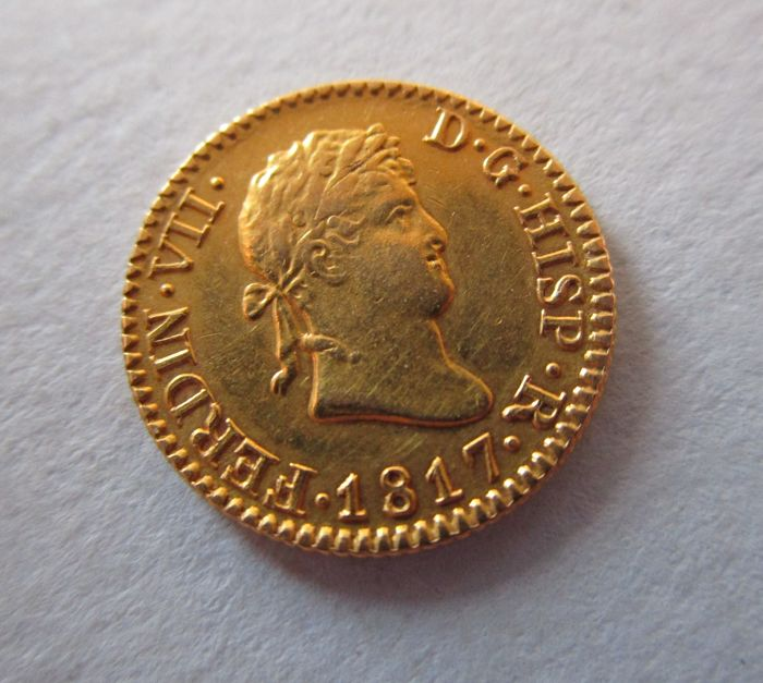Spain - Fernando VII  - 1/2  escudo de Madrid - año 1817 - Gold