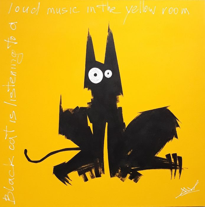 DZM - Black cat is listening to a loud music in the yellow room