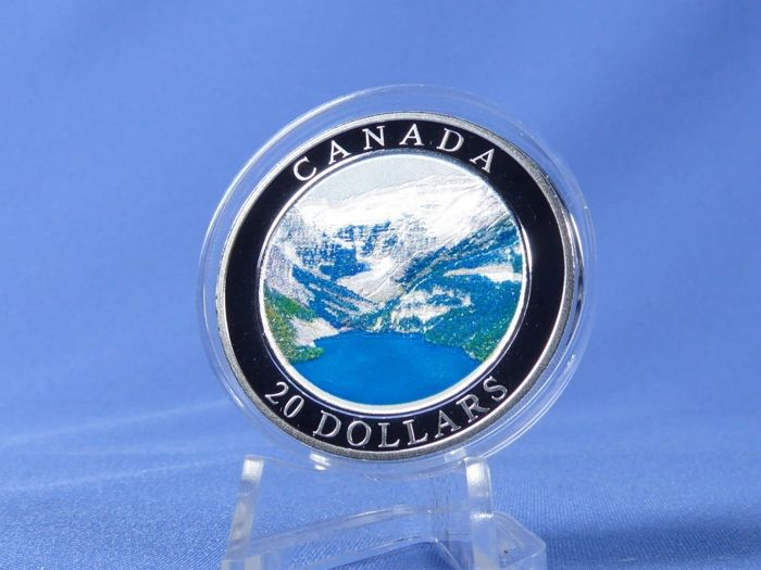 """Canada - 20 Dollar 2003 - """"Rocky Mountains"""" mit Color applikation - 1 Oz with COA and BOX - Silver"""