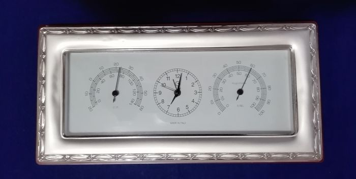 Table clock - Silver laminated - Italy - XXI century Silver & Gold Silver Plated Objects, used for sale