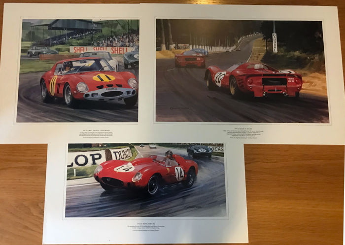 Graham Turner wordt afgedrukt - 3 x Graham  Turner Ferrari Prints 250 GTO,P4, 250 TR - 1988-1988 (3 items)