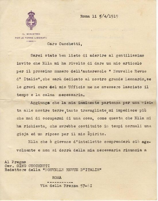 Antonio Fradeletto  - Autograph; Letter on an Article for the Magazine Nouvelle Revue d'Italie - 1919