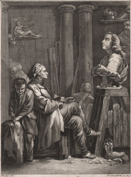 Francois Boucher (1703-1770)  - The sculptor in his studio, by Hertel (1719-1768)