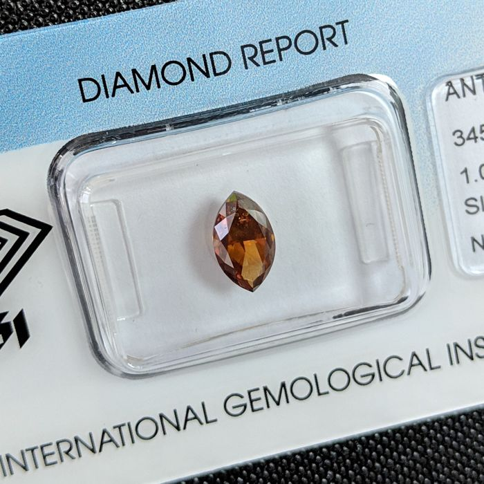 Diamant - 1.01 ct - Markies - fancy dark orange brown - SI2