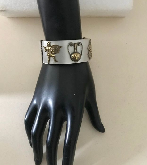 lucite and silver metal - Bracelet