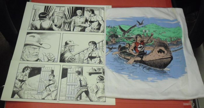 Zagor #626 - 1x original pages firmata + tshirt con Disegno di Ferri - First edition - (2017)