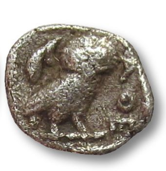 Griekenland (oud) - Attica, Athens. AR Obol, 454-404 B.C. -- tiny 9mm coin from ancient Athens - Zilver