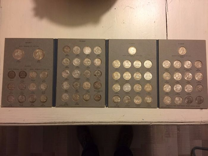 Australia - Florin 1910/1963 (64 pieces) + Crown 1937 and 1938 and 20 Cents (2 pieces) in album