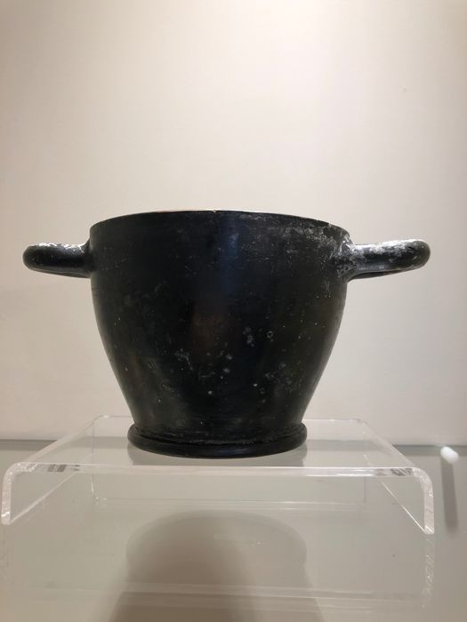 Ancient Greek, Hellenistic Ceramic black glazed Skyphos (low reserve price!) - 8.2 cm - (1)