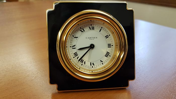 Rare Cartier desk clock Ref. 7512 No: 07963 Paris  - Gold plated - 5