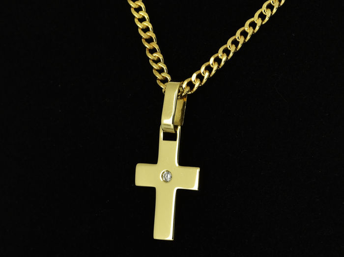 18 kt. Gold - Necklace with pendant - 0.03 ct Diamond