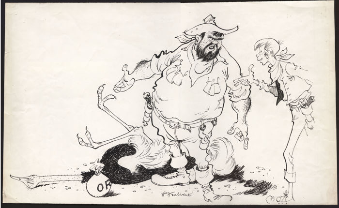 Trubert, Jean - Dessin original  - Paru dans le journal Vaillant 737; page 16-17 (1959)