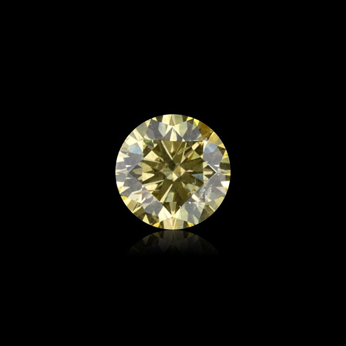 1 pcs Diamond - 1.06 ct - Round - fancy intens yellow - SI2