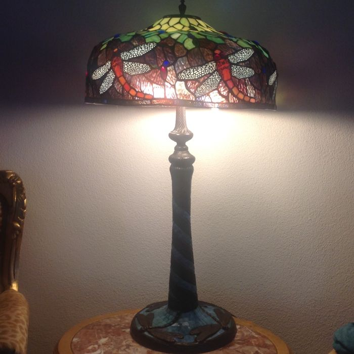 Dragonfly lamp height 98 cm - Glass (stained glass)