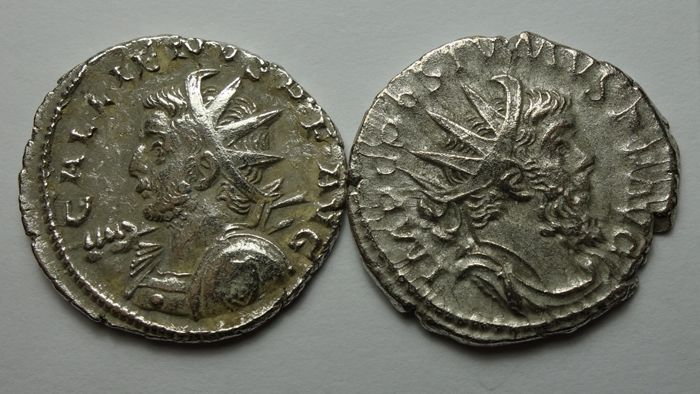 Roman Empire - Lot comprising 2 AR Antoniniani, Gallienus (AD 253-268) / Postumus (AD 260-269) - Silver