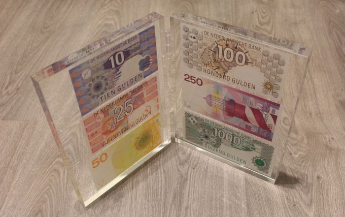 The Netherlands Banknote Presentation set with 10, 25, 50, 100, 250 and 1000 gulden - mevius PS1