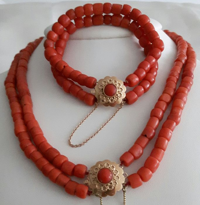 14 kt. Gold - Bracelet, Necklace - Blood coral