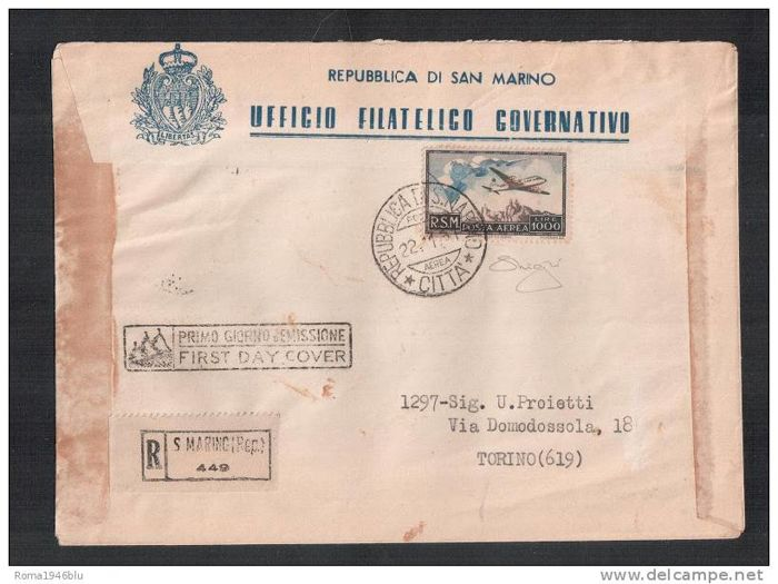 "San Marino 1951 - Airmail 1,000 Lire ""flag"" on registered cover 1st day of issue - Sassone n. 99"