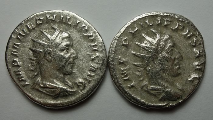 Roman Empire - Lot comprising 2 AR Antoniniani, Philip I (AD 244-249) - Philip seated left on curule chair / Felicitas standing left  - Silver