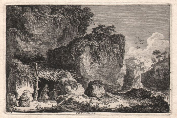 Franz Edmund Weirotter ( 1733 - 1771) - Italian landscape with a hermits cave