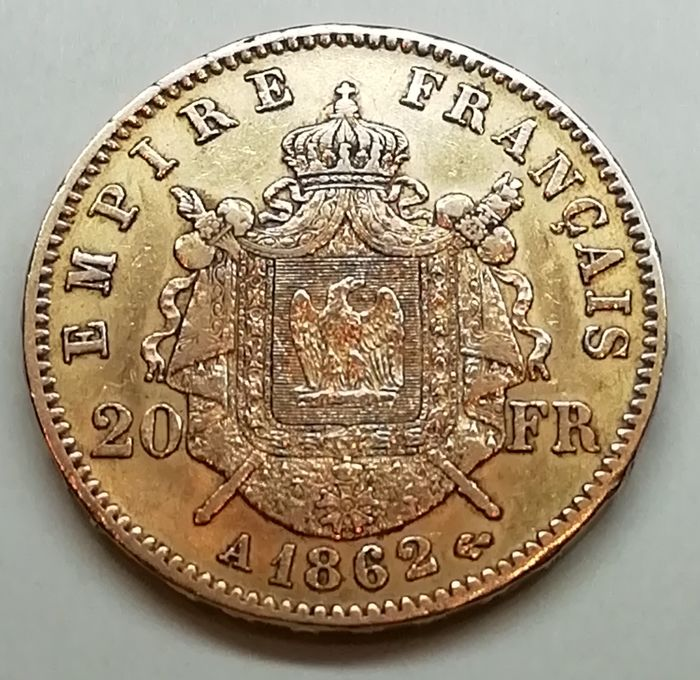 20 Francs 1862-A Napoleon III - Or