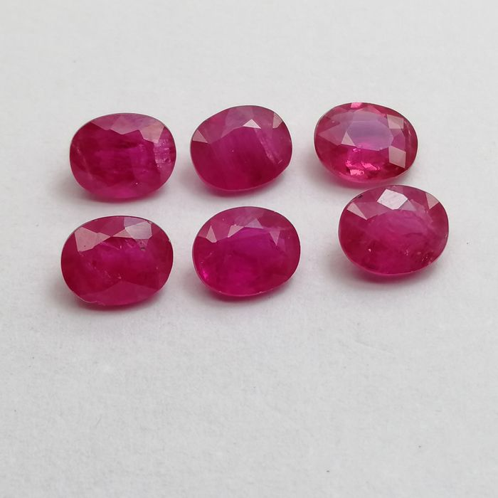6 pcs  Ruby - 3.09 ct