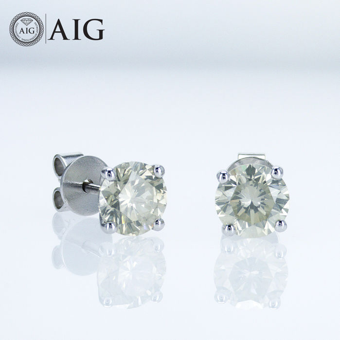 14 quilates Oro blanco - Pendientes - 2.03 ct Diamante