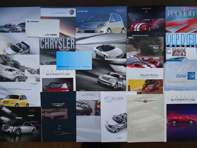 Brochures / catalogues - CHRYSLER Viper, Java concept, 300 C, Sebring & Stratus Convertible, PT Cruiser, Crossfire, etc - 1990-2006 (24 items)