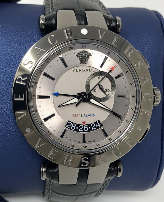 Versace - V-Race Dual Timezone GMT & ALARM Grey and Black leather Swiss Made  - 29G98D535S009 - Men - NEW