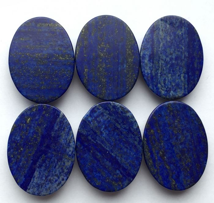 Lazulite Cabochons - 7×30×40 mm - 88.77 g - (6)