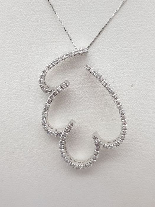 18 kt. White gold - Necklace, Necklace with pendant - 0.80 ct Diamond