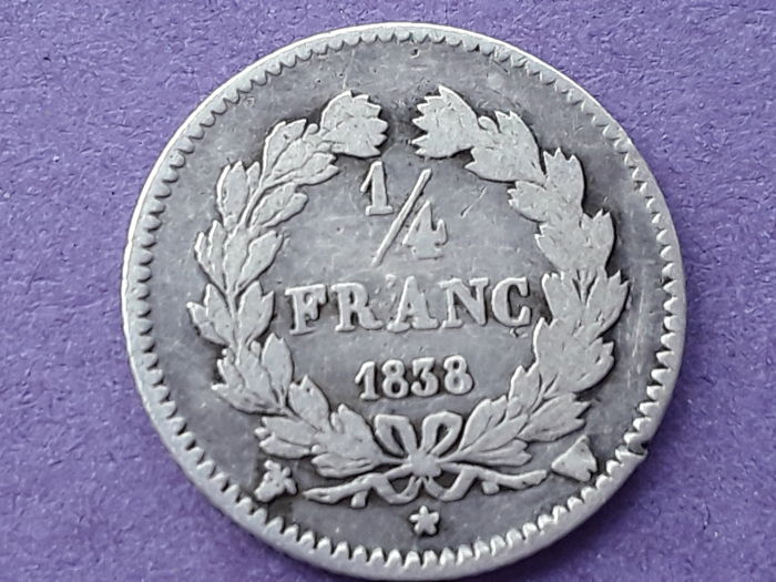 France - 1/4 Franc 1838-W Louis Philippe I - Silver